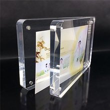 2017 Factory Wholesale Crystal Clear Round Corners Latest Design Acrylic Love Funny Magnetic Photo Frame