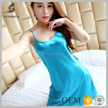 Trendy women printed sleepwear young girls dress sexy nightwear