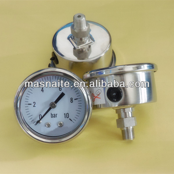 full stainless steel oil filled air pressure manometer