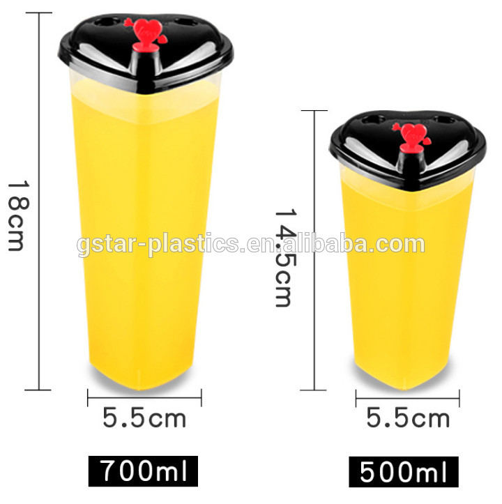 16oz 24oz Heart Shape Injection Molding PP Hard Cups Plastic Bubble Tea Drinking Cups Containers with Heart Lid