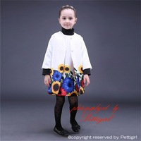 2015 New Arrival Children Printed Clothing Sets Include Three Quarter Sleeve Jacket and Sunflower Dress Kids Autumn Clothes