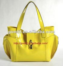 New arrival! Patent leather turn lock tote bags Fashion ladies leather handbags