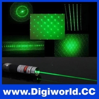 High Quality Portable 5 In 1 Powerful 10MW 532nm Burning Green Laser Pointer With Five Rotating Cap