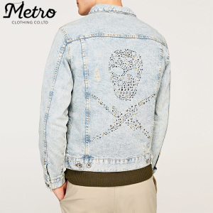 wholesale bleached oversized studded skull denim jacket