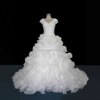 Extravagant Tight Lace Bodice Corset Closure Cal Sleeves Ball Gown Wedding Dress