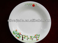 flat serving dinner plates with printing on