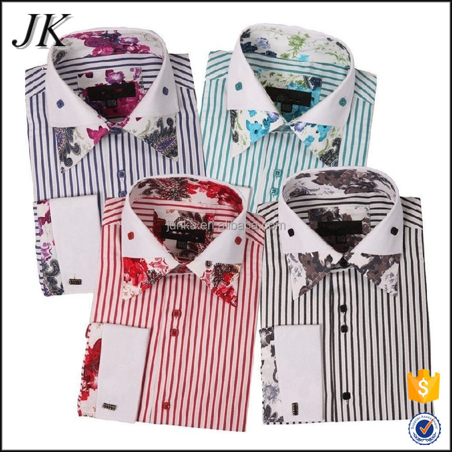 2016 Fancy Design Custom Made Slim Fit Mens Double Collar Dress Shirt with French Cuff