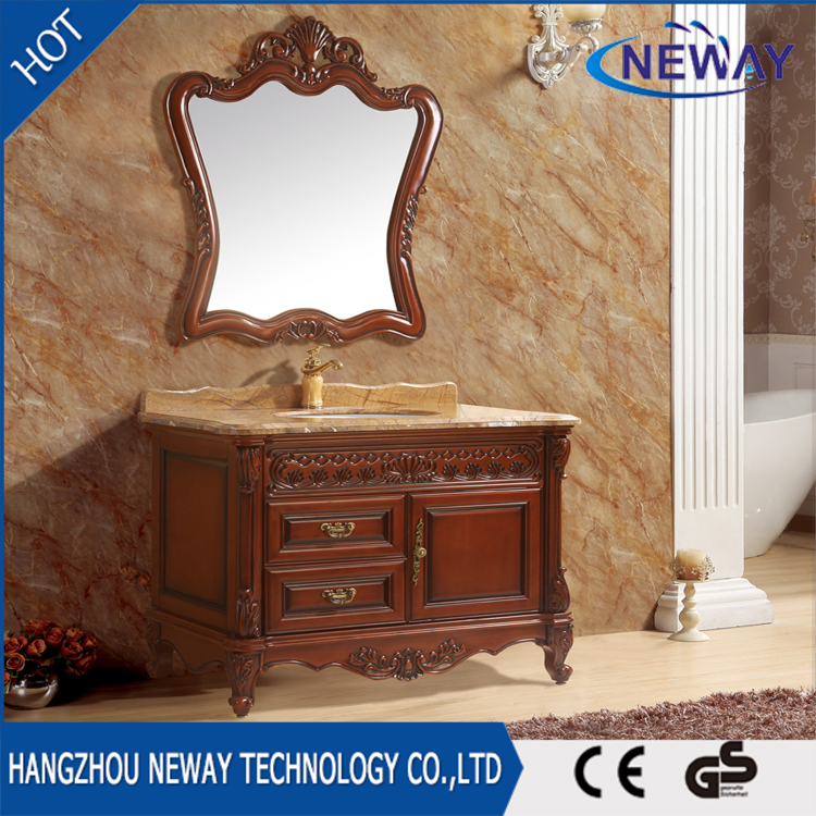 Antique style custom bathroom solid wood vanity