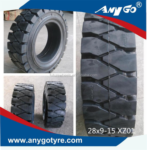 anygo brand 28x9-15 xz01 forklift solid tyres, pneumatic solid