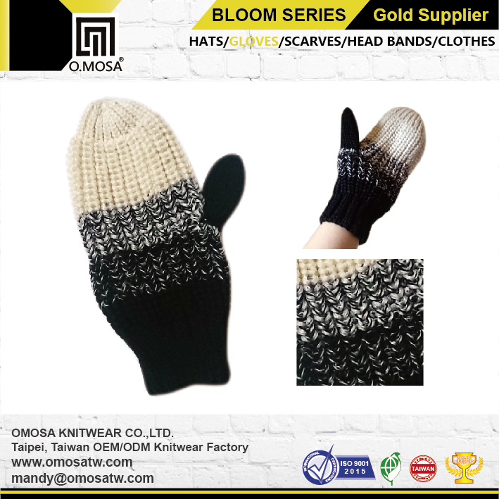 OM2890 O.MOSA 3G Acrylic Color Gradiant Knit Sport Mittens Hand Gloves