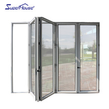 American NFRC Label Balcony Partition Thermal Break Heavy Duty Bifold/Accordion Glass Doors