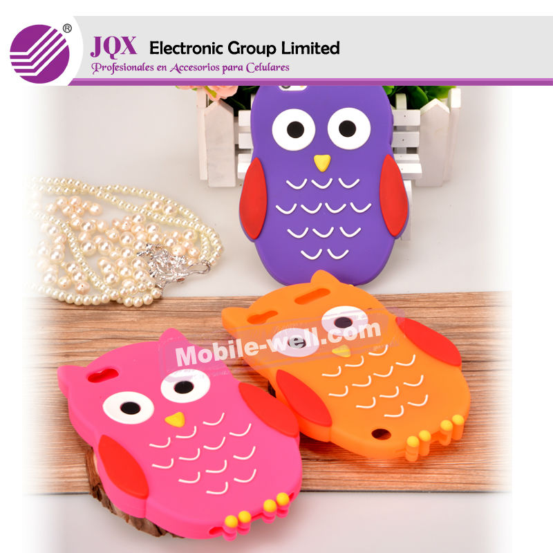 3d silicon animal case for iphone 5 cute owl with three colors