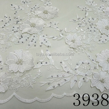 2017 Newest Fashion Trend 3D Flower Lace Embroidered Fabric,Hand Beaded Embroidery Laces For Bridal TY3938