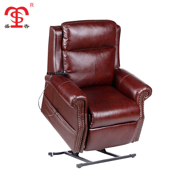Custom 1 seat red leather manual lift recliner single sofa