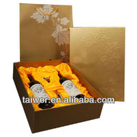 Tope grade OEM 2 bottle cardboard wine box with wine bag in box