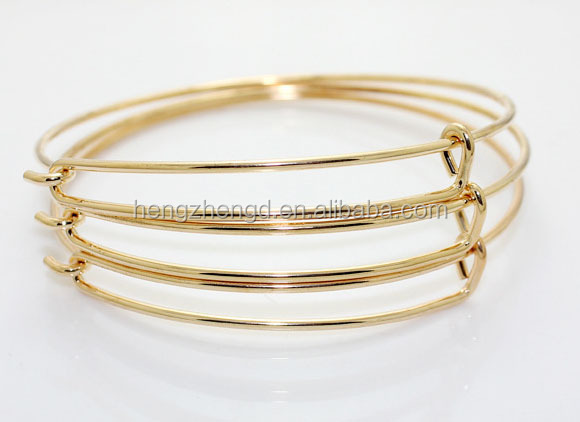Hot sale fashion DIY Iron metal 18k gold plated open bangle