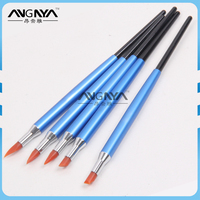 ANGNYA Wholesale Factory Supply Blue Metal Handle Nail Art Silicone Brush Set