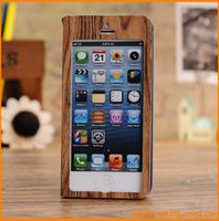 Full Screen Touch Wood Grain Leather Case For iPhone 5C