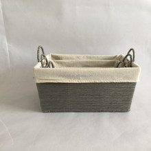 2018 stackable paper woven basket handmade paper rope basket with 2 handles and pure color liner
