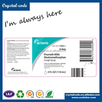 wholesale waterproof self adhesive actavis prometh cough syrup paper label sticker