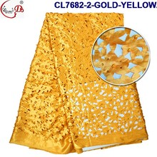 CL7682-2-GOLD-YELLOW African style handcut cord lace laser cut lace fabric with pearl stones