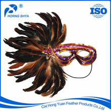 CM-347 Mardigras Masquerade Party Fashion Show Customized Glitter Mask With Feather