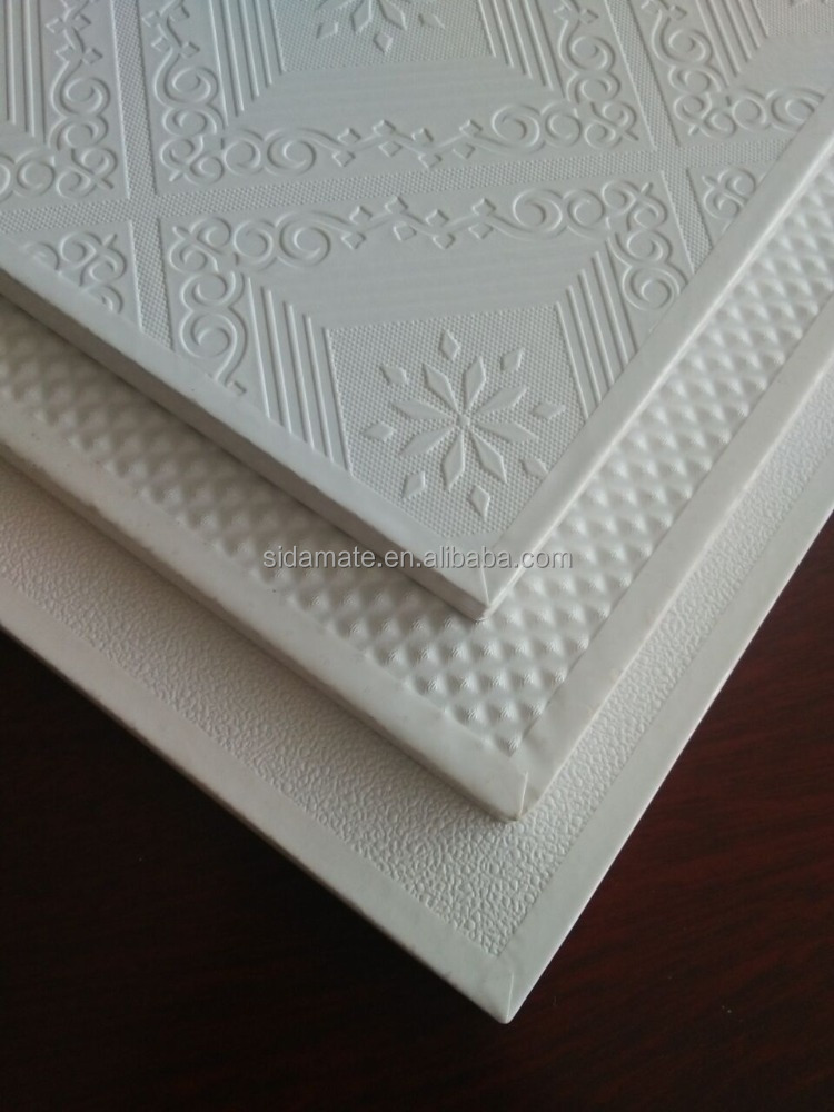 595*595*7mm ceiling tiles to qatar Laminated PVC Gypsum Ceiling Tile 595mm*595mm gypsum board ceiling t grid