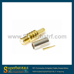 MCX male rf coaxial crimp connector for cable rg174 rg316