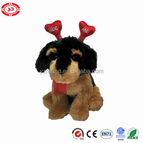 Xmas dog plush puppy with red antler cute custom toy