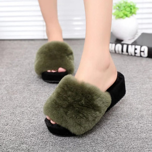 2018 High-Heeled Rabbit Fur Slippers Women Fashion Autumn Winter Fur Slides Platform Women Shoes Women Slippers