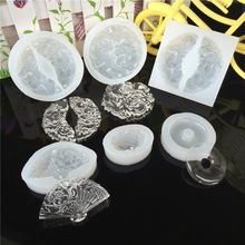 Free Grinding New Hot Sale Mirror Longfeng Jade Pendant With <strong>Flat</strong> Buckle Lotus Fan Hand Hole Mold