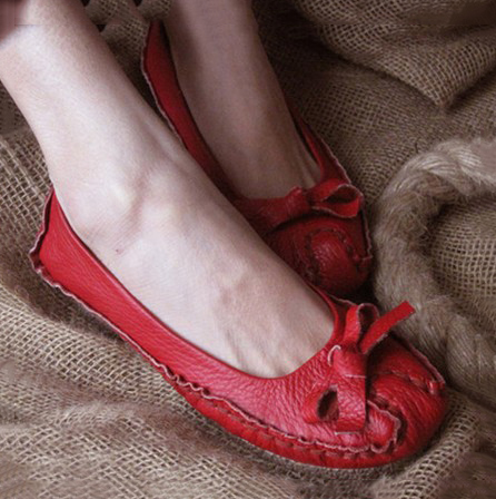 handwork women red Bow leather shoes