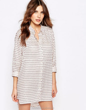 Oversized Long Sleeve Dot Print Dress in Shirt Design for women