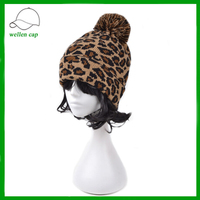 Retro fashion leopard pattern winter warmer knitted hat with pom pom