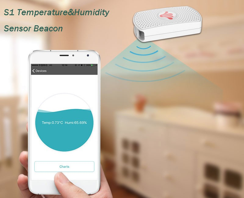 Smart bluetooth wifi temperature sensor tag for temperature and humidity sensor monitoring