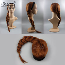 China wig supplier wholesale brown 30 inch long synthetic hair 3/4 wig with braid