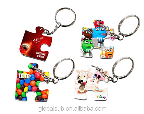Funny Jigsaw Puzzle Sublimation Polymer Puzzle Key Chain With Ring
