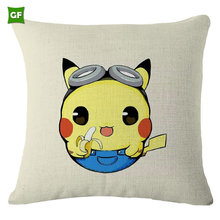 Simple Faux Linen Customized Size Square Cute Cartoon Pikachu Printing Throw Pillow Poly Fabric