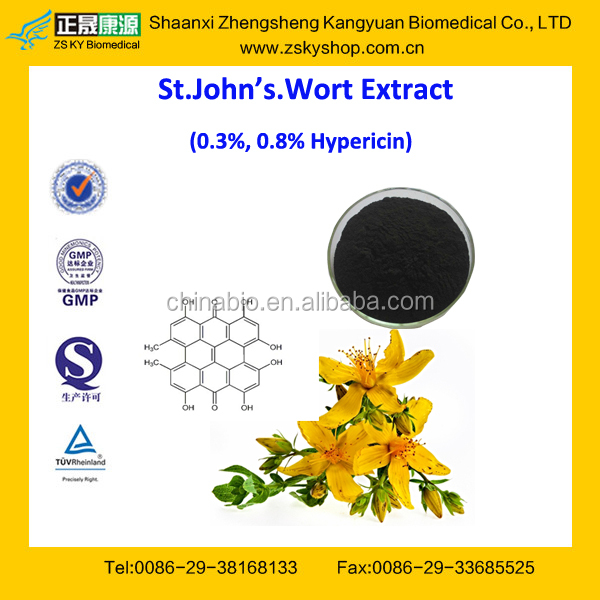 GMP Factory Supply Free Sample St John's Wort Extract 0.3%, 0.8% Hyperforin