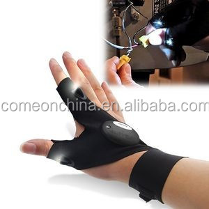 Fingerless Gloves With LED Flashlight Torch Outdoor Camping Hiking Fishing Rescue Tool