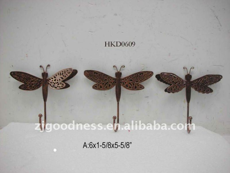 Hot Sale Rustic Dragonfly Metal hook,Asst 3assorted styles
