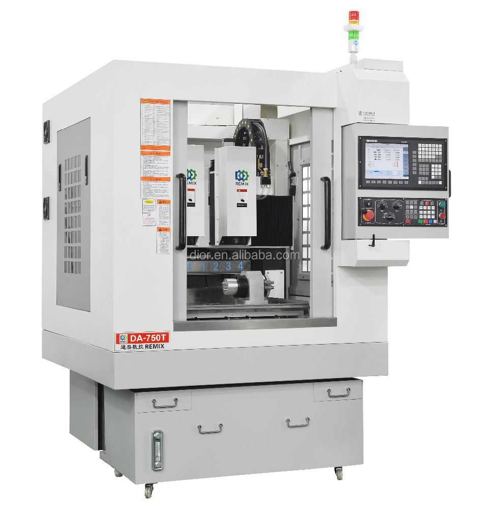 Factory DA-750T 4 axis Double-Heads Metal Knife-Library CNC lathe machine
