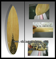 Full bamboo design fiberglass short surfboard