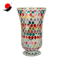 Wholesale Colorful Hand Made MosaIc Glass Hurricane Vase for Home