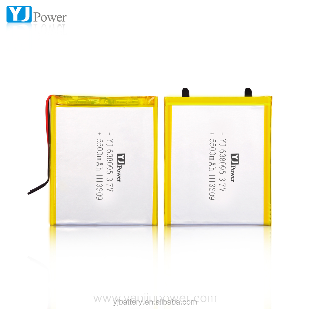 Rechargeable li-polymer battery 638495-5500mAh 3.7V For Medical Product, Tablet PC,
