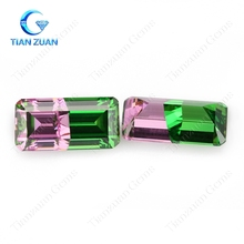 Multi color pink and green color rectangle shape cubic zirconia similar to watermelon tourmaline CZ stone