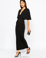 Elegant Women's Trendy Cape Sleeve Deep Plunge V Bodycon Long Dress