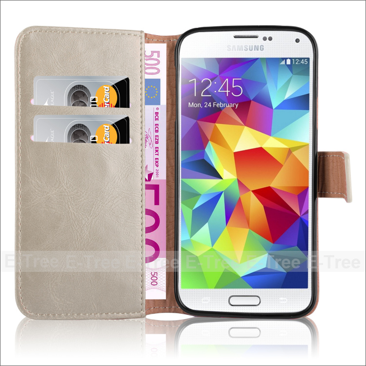 Premium Leather Wallet Folio Cover Case For Samsung Galaxy S5 i9600