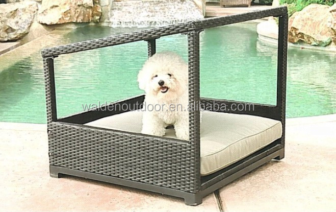 Garden rattan wicker dog pet bed