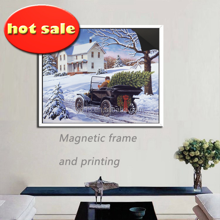 cheap wood bulk magnetic picture frame &print magnetic Village Fruit painting1013-84